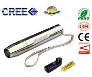 LED手電筒 白鐵玉石檢驗 黃光5W( 附18650鋰電池+充電器)